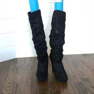 Black Knee High Suede Ruched Boots